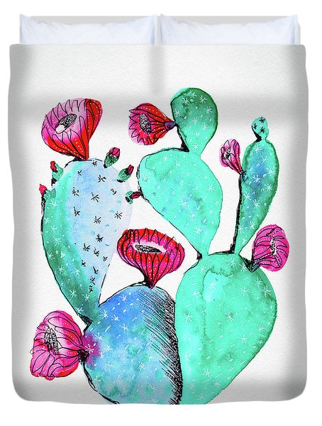 Pink And Teal Cactus Duvet Cover