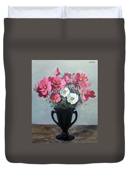 Pink And White Cosmos In Black Milk Glass Vase Duvet Cover