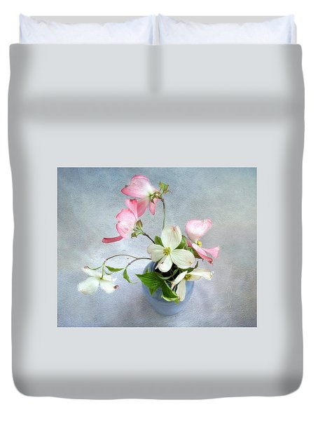 Duvet Cover featuring the photograph Pink And White Dogwood Still by Louise Kumpf