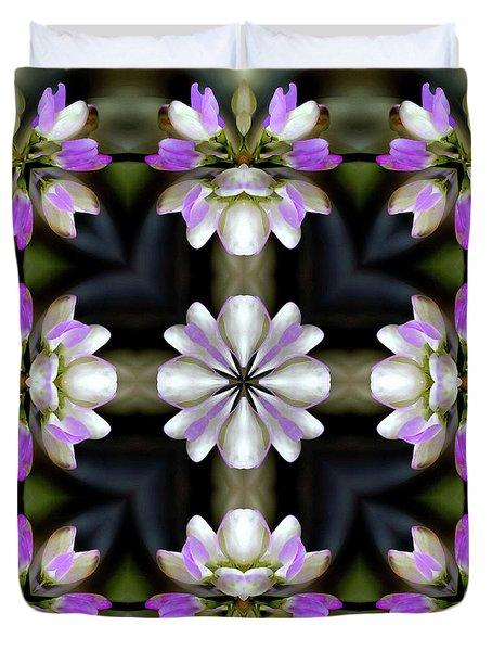 Pink And White Flowers Abstract Duvet Cover