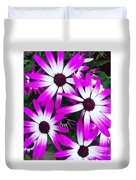 Pink And White Flowers Duvet Cover by Vizual Studio