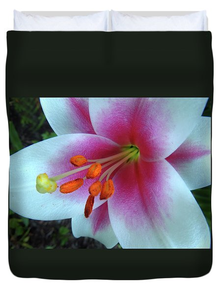 Pink And White Lily Duvet Cover
