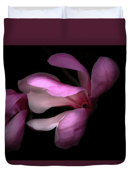 Pink And White Magnolia In Silhouette Duvet Cover