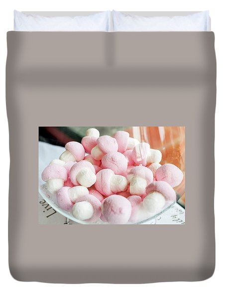 Pink And White Marshmallows In Bowl Duvet Cover