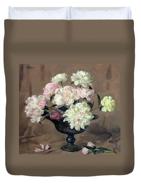 Pink And White Peonies In Footed Silver Bowl Duvet Cover