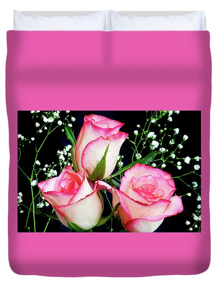 Pink And White Roses Duvet Cover