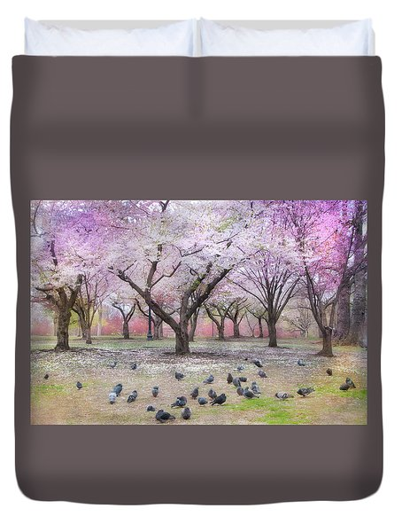 Duvet Cover featuring the photograph Pink And White Spring Blossoms - Boston Common by Joann Vitali