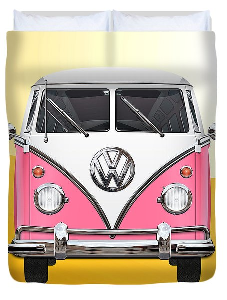 Pink And White Volkswagen T 1 Samba Bus On Yellow Duvet Cover