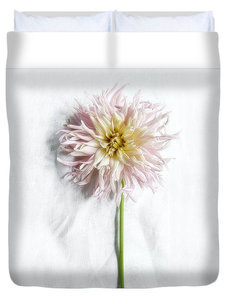 Pink And Yellow Dahlia Duvet Cover by Louise Kumpf