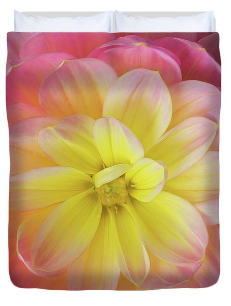 Duvet Cover featuring the photograph Pink And Yellow Dahlia by Mary Jo Allen