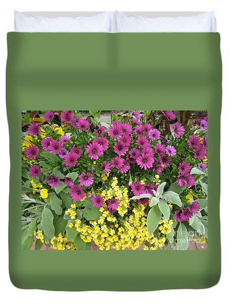 Pink And Yellow Flowers Duvet Cover
