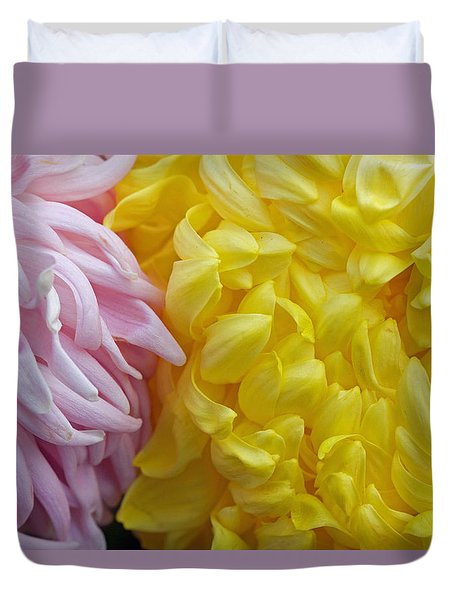 Pink And Yellow Mums Duvet Cover by Jim Gillen