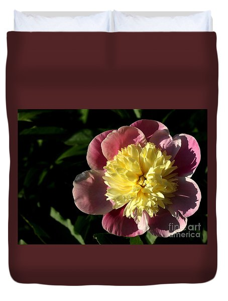 Duvet Cover featuring the photograph Pink And Yellow Peony by Kenny Glotfelty