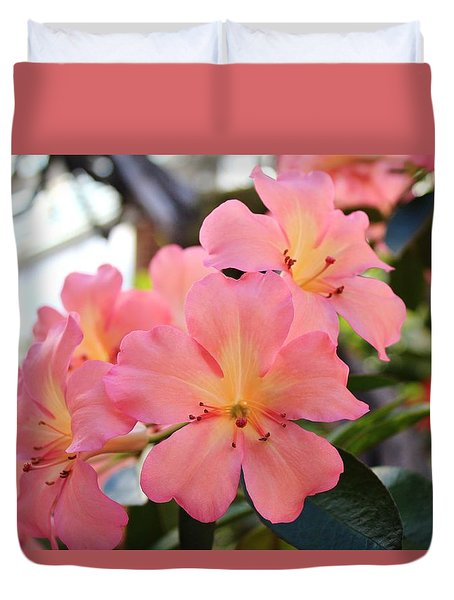 Pink And Yellow Vireya Duvet Cover