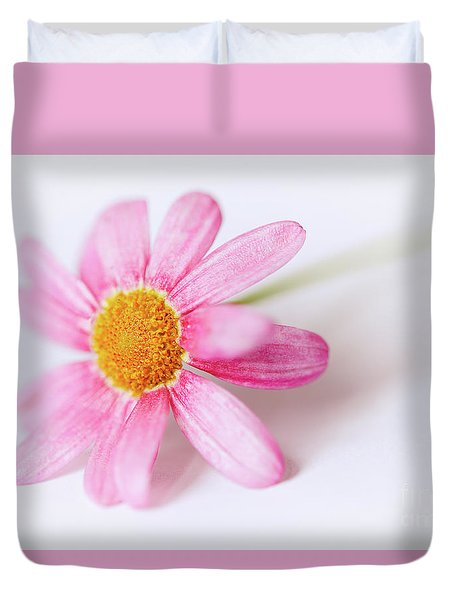 Duvet Cover featuring the photograph Pink Aster Flower II by Nick Biemans