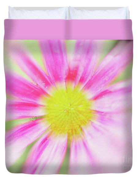 Duvet Cover featuring the photograph Pink Aster Flower With Raindrops Abstract by Nick Biemans