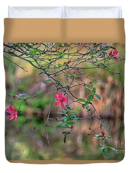 Duvet Cover featuring the photograph Pink Azalea Dream by Deborah Benoit