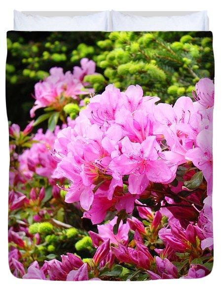 Pink Azalea Flowers Landscape 11 Art Prints Canvas Artwork Framed Art Cards Duvet Cover by Baslee Troutman