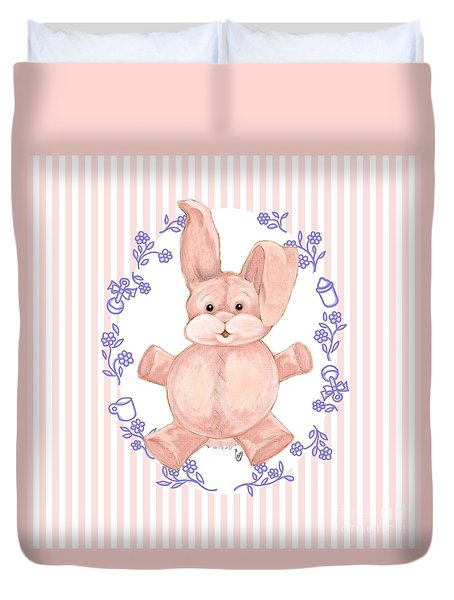 Pink Baby Bunny Duvet Cover by Cindy Garber Iverson