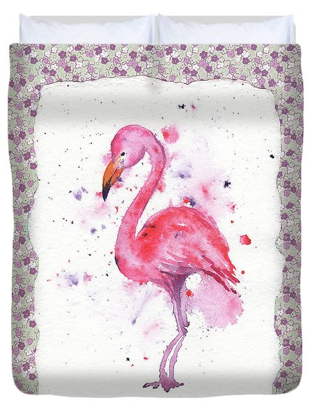 Duvet Cover featuring the painting Pink Baby Flamingo Watercolor by Irina Sztukowski