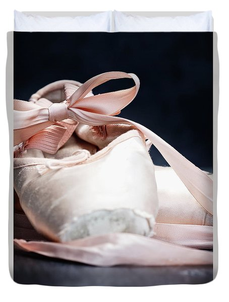 Pink Ballerina Pointe Shoes Duvet Cover