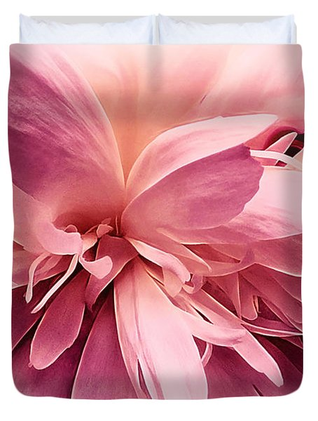 Duvet Cover featuring the photograph Pink Ballet Powder Puff by Darlene Kwiatkowski