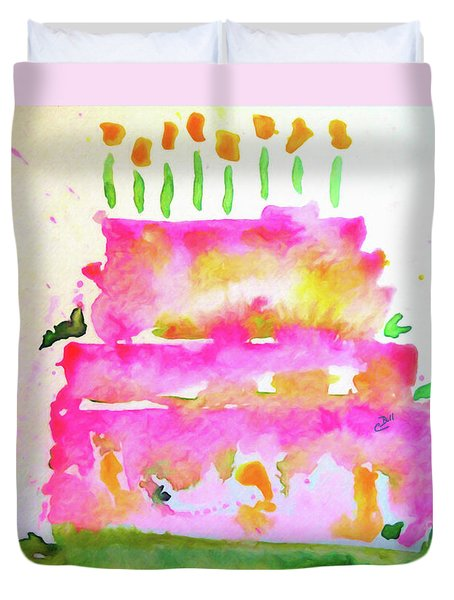 Duvet Cover featuring the painting Pink Birthday Cake by Claire Bull