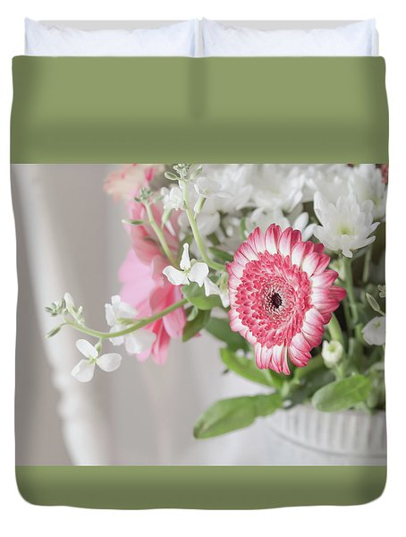 Duvet Cover featuring the photograph Pink Blooms Love by Kim Hojnacki