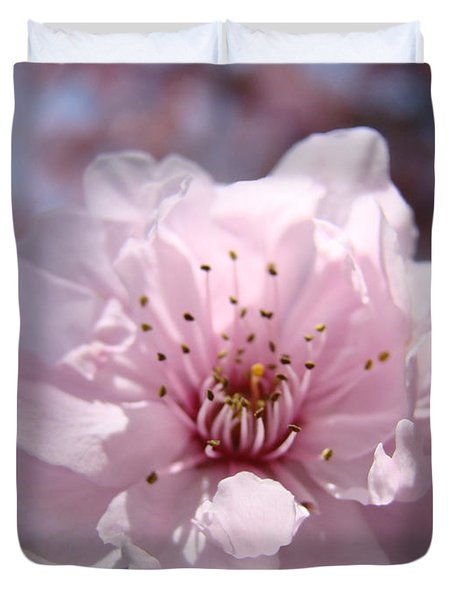 Pink Blossom Nature Art Prints 34 Tree Blossoms Spring Nature Art Duvet Cover by Baslee Troutman