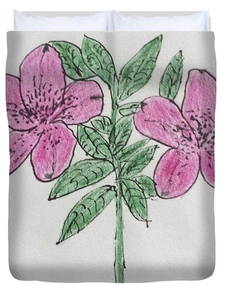 Duvet Cover featuring the painting Pink Blossoms by Margaret Welsh Willowsilk