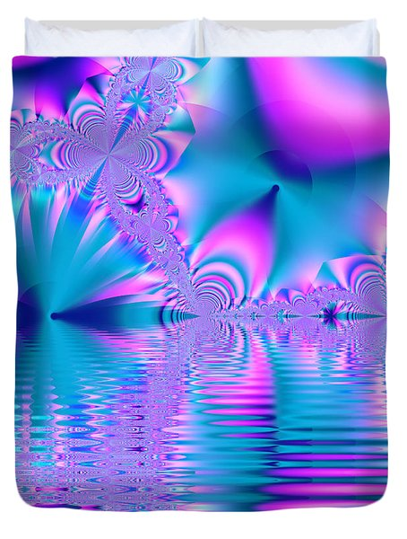 Pink, Blue And Turquoise Fractal Lake Duvet Cover