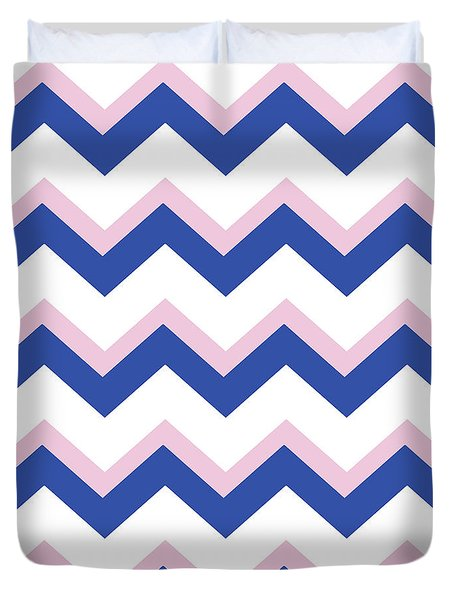 Pink Blue Chevron Pattern Duvet Cover