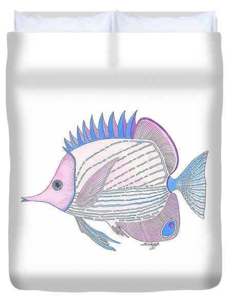Pink Blue Fish Duvet Cover