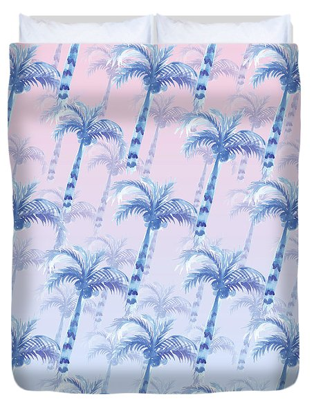 Pink Blue Palm Tree Grove Duvet Cover