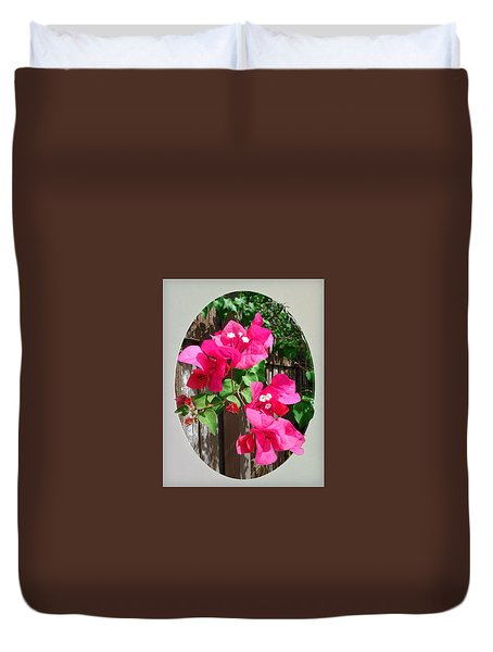 Duvet Cover featuring the photograph Pink Bougainvillea by Ginny Schmidt