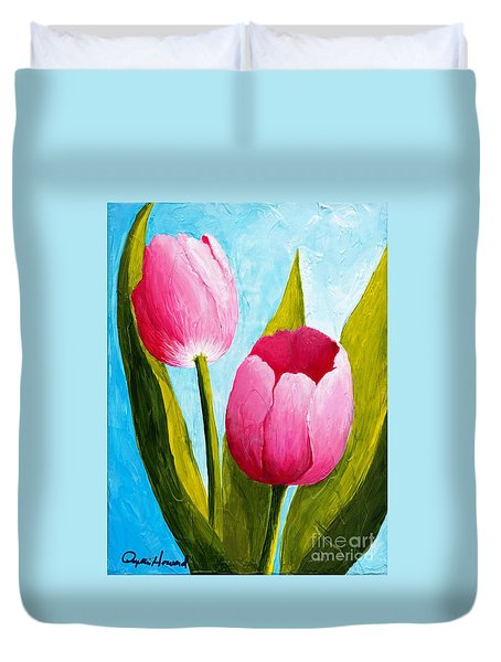 Duvet Cover featuring the painting Pink Bubblegum Tulip II by Phyllis Howard