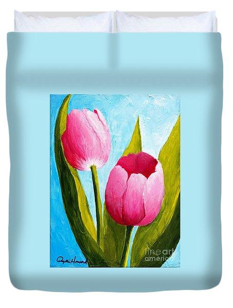 Pink Bubblegum Tulip II Duvet Cover