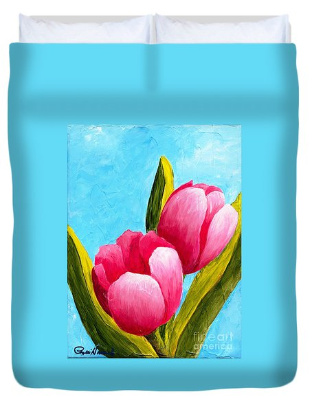Pink Bubblegum Tulips I Duvet Cover
