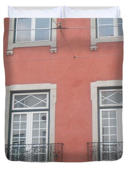 Pink Building In Lisbon Duvet Cover