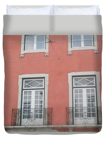 Pink Building In Lisbon Duvet Cover