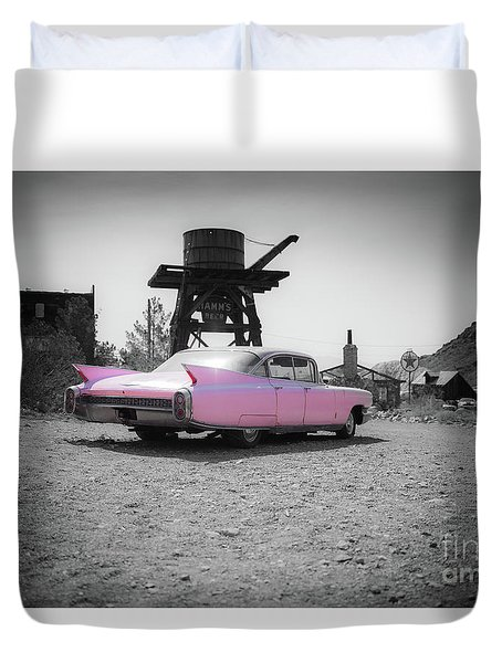Pink Caddy In The Desert Duvet Cover