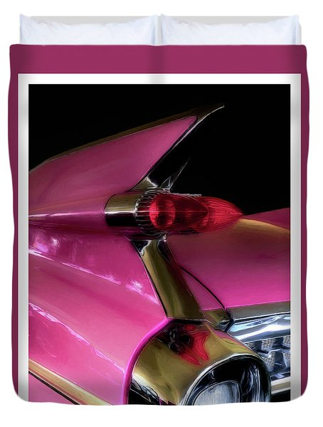 Pink Cadillac Duvet Cover by Trey Foerster