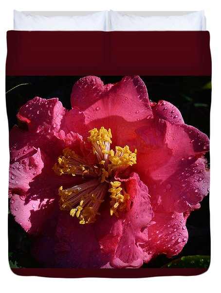 Pink Camillia With Raindrops Duvet Cover