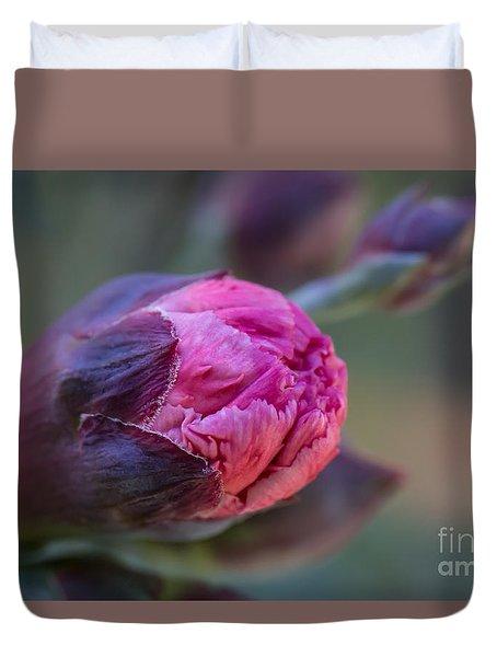 Pink Carnation Bud Close-up Duvet Cover