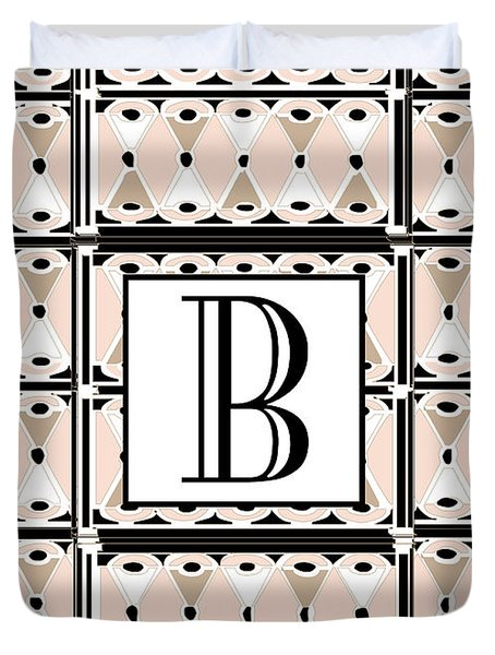 Pink Champagne Deco Monogram  B Duvet Cover