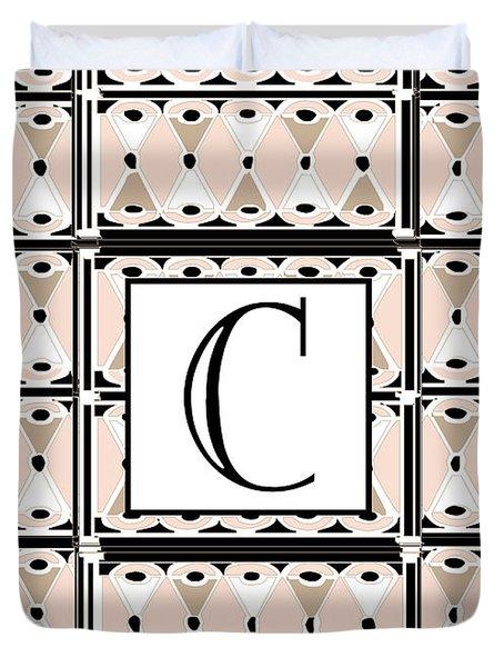 Pink Champagne Deco Monogram  C Duvet Cover