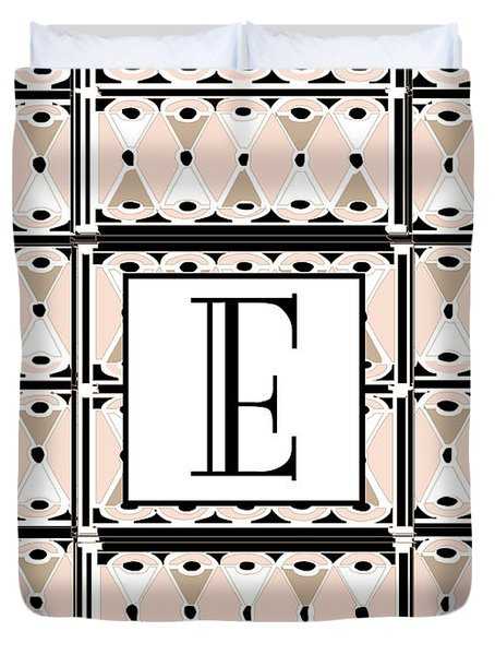 Pink Champagne Deco Monogram  E Duvet Cover
