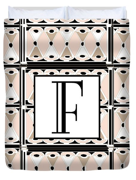 Pink Champagne Deco Monogram  F Duvet Cover