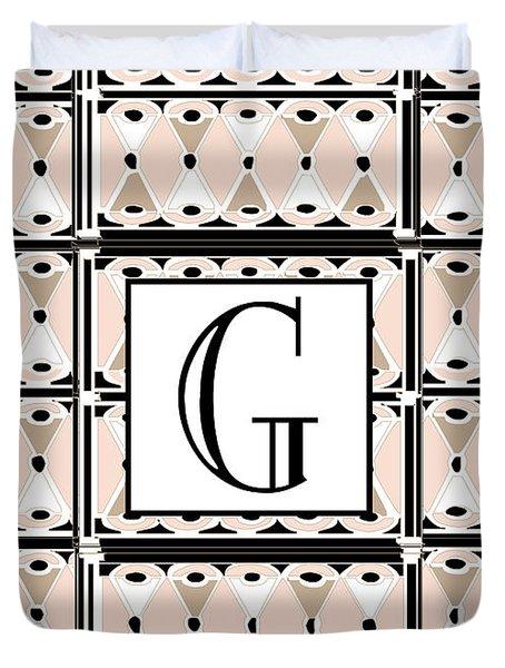 Pink Champagne Deco Monogram  G Duvet Cover