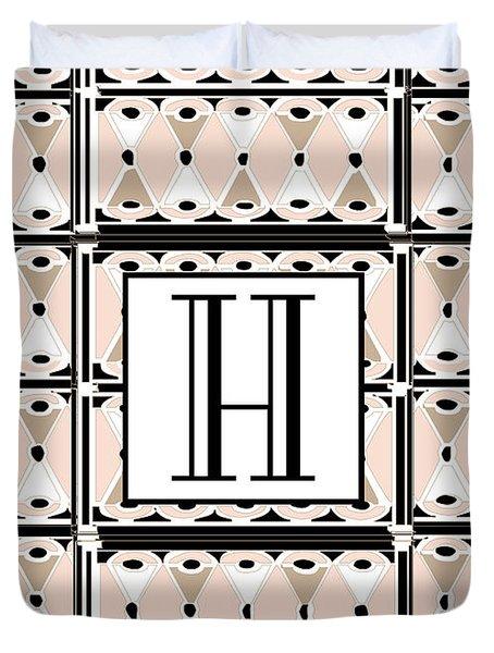Pink Champagne Deco Monogram  H Duvet Cover